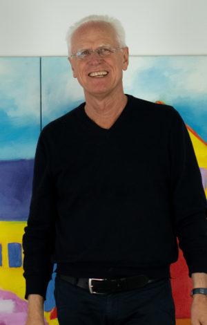 "Ulrich Lipp in his Studio in front of ""Das Idyll"" artwork, oil on Canvas, Premium Modern Art"